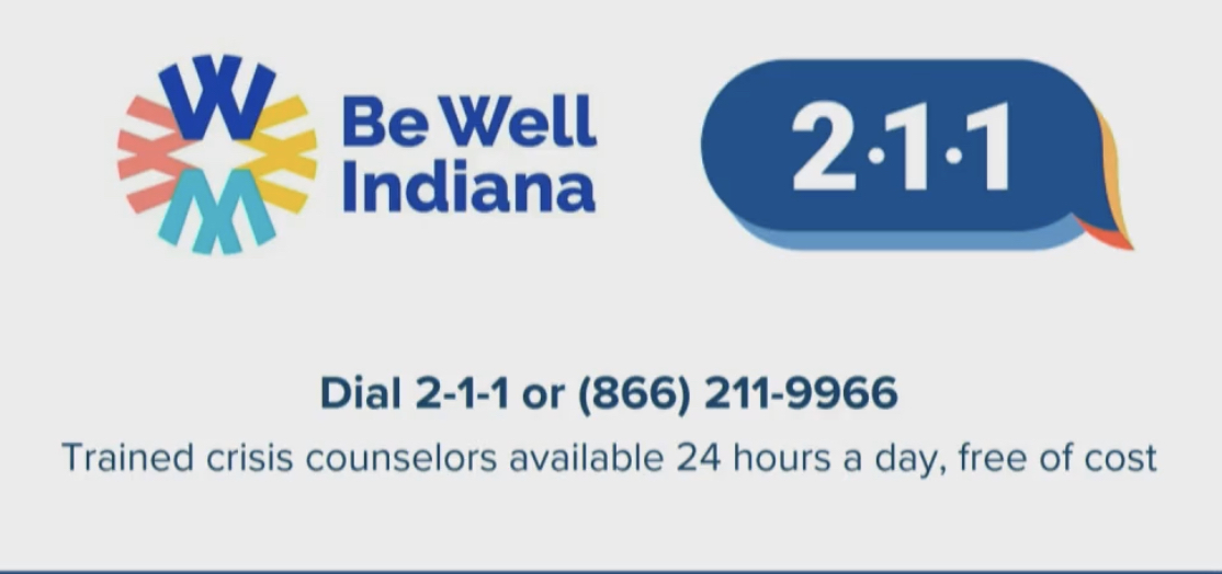 Be Well Indiana Dial 2-1-1 or (866) 211-9966